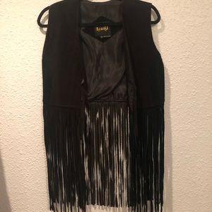 Vintage black suede fringe vest